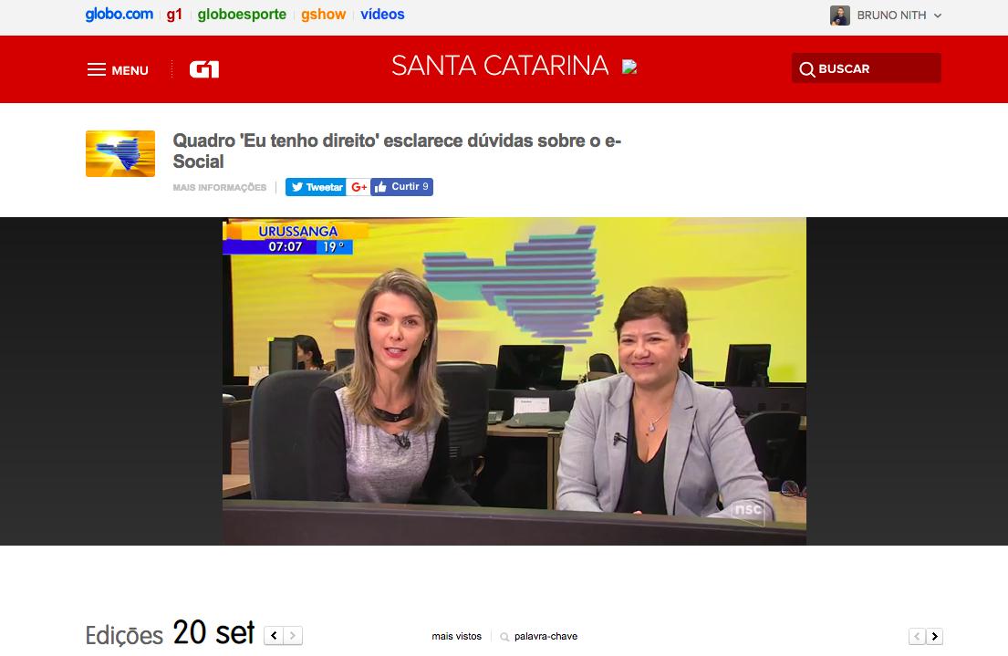 Zenaide Carvalho participa de telejornal da NSC TV