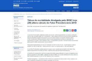 Tábua de mortalidade divulgada pelo IBGE hoje (29) altera cálculo do Fator Previdenciário 2019