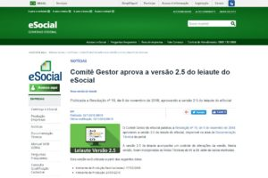 Comitê Gestor aprova a versão 2.5 do leiaute do eSocial