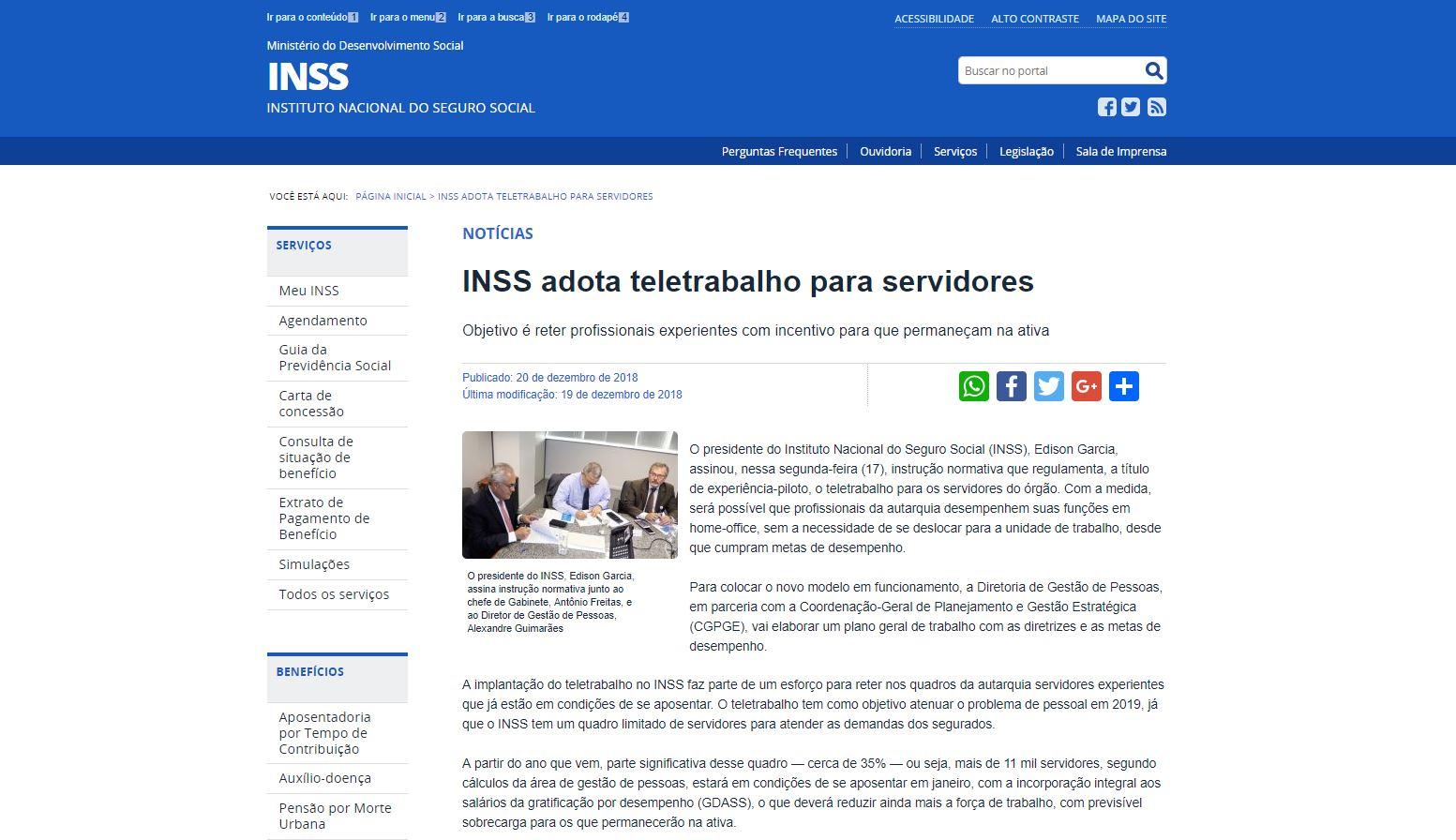 INSS adota teletrabalho para servidores