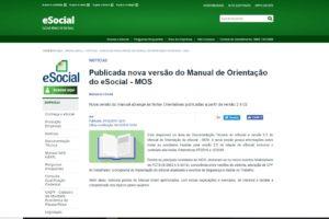 Publicada nova versão do Manual de Orientação do eSocial – MOS