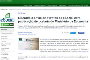 Liberado o envio do evento de remuneração (S-1200) ao eSocial com publicação de portaria do Ministério da Economia