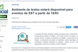 eSocial: Ambiente de testes estará disponível para eventos de SST a partir de 18/03