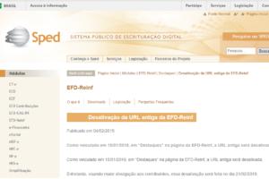 EFD-Reinf Terá nova URL de Acesso a Partir de 21/02/2019