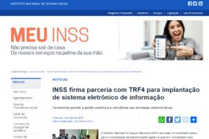 INSS firma parceria com TRF4 para implantação de sistema eletrônico de informação
