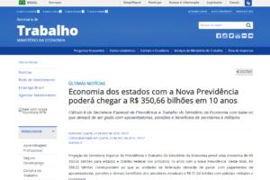 Economia dos estados com a Nova Previdência poderá chegar a R$ 350,66 bilhões em 10 anos