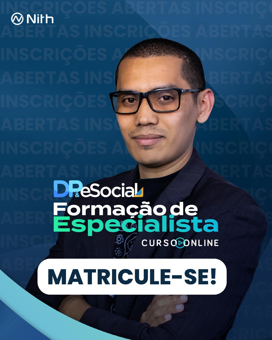Inscrições abertas para Curso Formação de Especialista em DP e eSocial